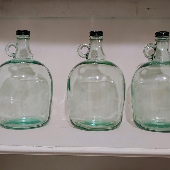 Vintage Other - (3) gallon jug jar glass with handle